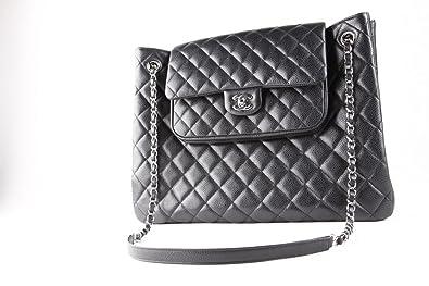 7618b12a3b Chanel shopping bag sac à main cuir noir grainé: Amazon.fr ...