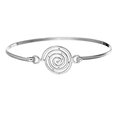 005844b99bec Silverly Frauen .925 Sterling Silber Fein Runden Spiralförmige Stapelbare  Armreif Armband