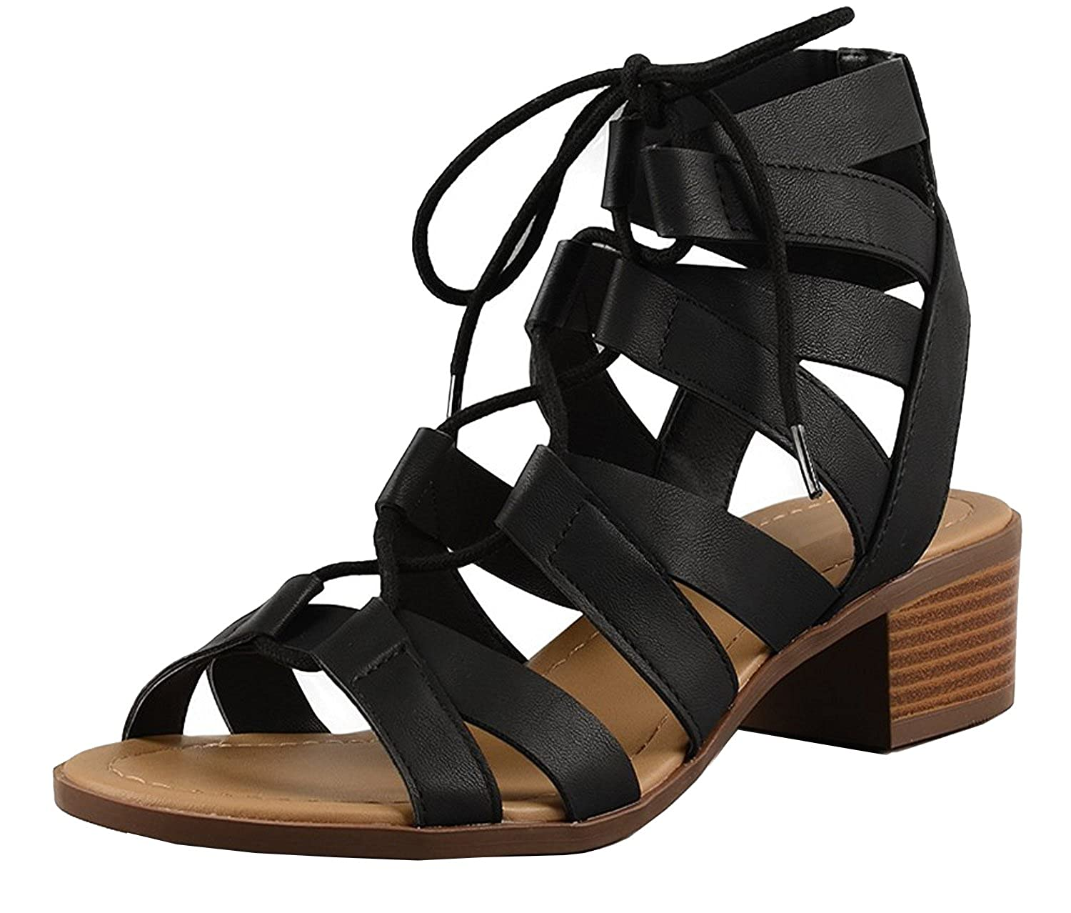 0ab6ade38f8 Image Cambridge Select Women s Gladiator Caged Cutout Open Toe Chunky  Stacked Block Lace-up Mid