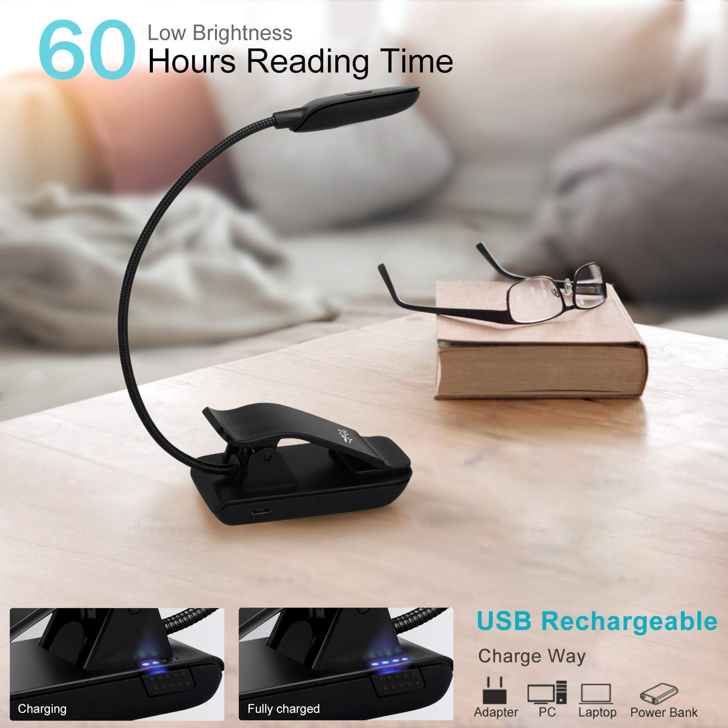 Yte Book Light Rechargeable Reading With 6 Warm Led 3 Loop September Powerbank Slim 80000mah Level Brightness And Eye Care Lamp Up To 60 Hours Clip On Books Kindle