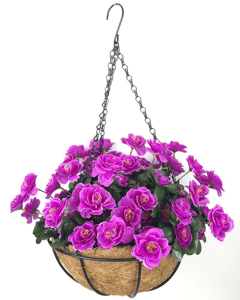 silk flower arrangements lopkey outdoor artificial red azalea bush flower patio lawn garden hanging basket with chain flowerpot,purple