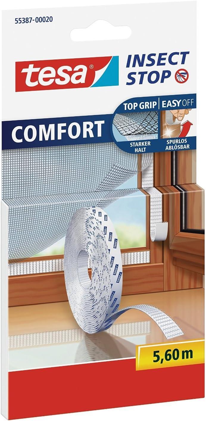 Nachf/üllpackung 10x Ersatzrolle 5,6 m Tesa Insect Stop Comfort Selbstklebender Klettverschlussstreifen f/ür Insektennetz