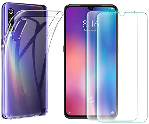 MYLBOO Xiaomi Mi 9 Case with Screen Protector, [3 in 1] Transparent Soft TPU Case + [2 pc] 9H Tempered Glass Screen Protector for Xiaomi Mi 9 ...