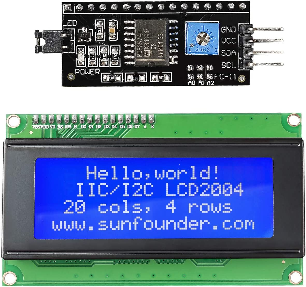 SunFounder IIC I2C TWI Serial 2004 20x4 LCD Module Shield for Arduino R3 Mega2560