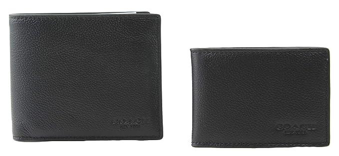 cb284759b417 Coach 64118 Black Mens Compact Id Sport Wallet and Trigger Snap Keyfob Set