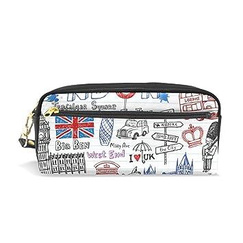 coosun Londres Doodles portátil piel sintética estuche escolar pluma bolsas papelería funda gran capacidad de maquillaje bolsa