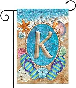 """Briarwood Lane Summer Monogram Letter K Garden Flag Flip Flops Seashells 12.5"""" x 18"""""""