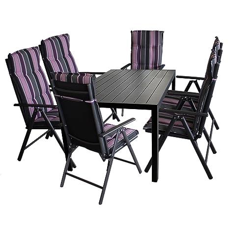 Mobiliario de jardín polywood mesa 150 x 90 cm aluminio negro + 6 x aluminio silla