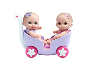 "LIL' CUTESIES TWIN DOLLS IN STROLLER – 8.5"" All vinyl water friendly dolls for children Ages 2+ - Designed by Berenguer"