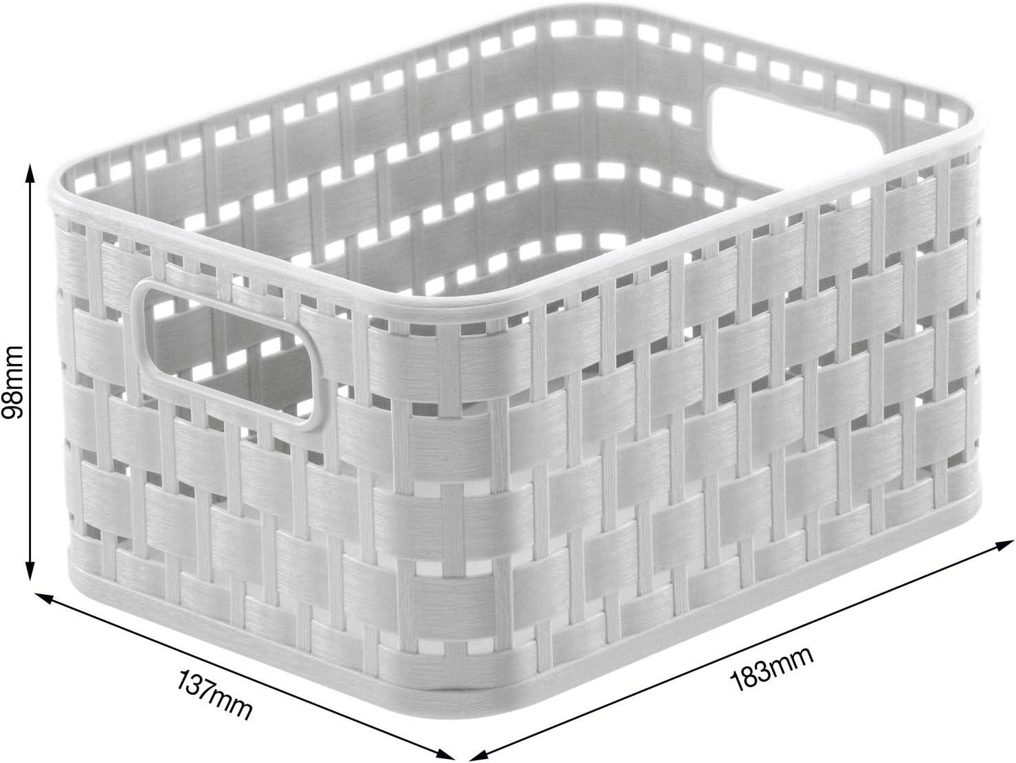 Fix Material Azul 28,0 x 18,5 x 12,6 cm A5//6l Rotho Country Caja de Almacenamiento de 6l en Aspecto de rat/án