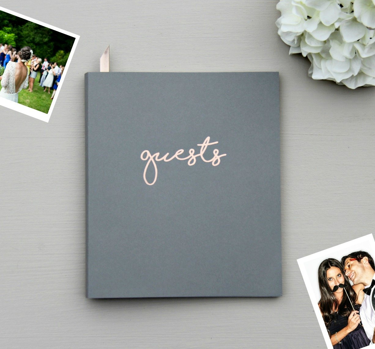"""Photo Guest Book, Softcover Flat-Lay Cardstock, Small 8.5""""x7"""", 65 Grey Sheets (130 pgs) Birthday Guest Book Wedding Guest Book Photobooth Guest Book Instax Guest Book Quinceanera Rose Gold Grey"""