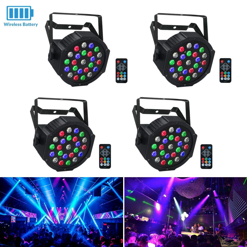 Wireless Stage Lights Package, LaluceNatz 24LEDs RGBW Battery Par Light Battery Power Playing 6-15 Hours Controlled by IR Remote DMX and Sound Activated for Wedding Church Stage Lighting(4pcs)