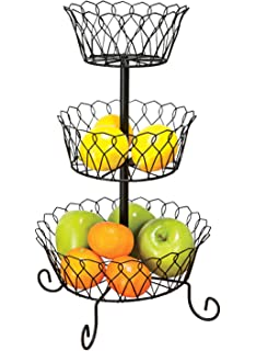 Amazon.com: BirdRock Home 3-Tier Wire Market Basket Stand with ...