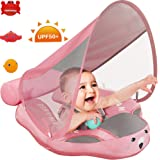PRESELF Baby Solid Float with Canopy Safety Aquatics Floating Ring Fit Infant Toddler Swimming Pool Swim School Training (Pink)