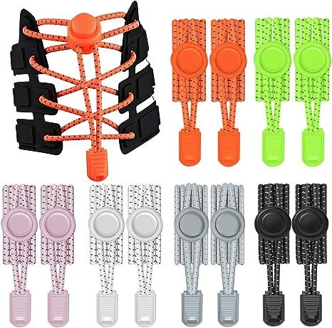 Imagen deTh-some 12 PCS (6 Pares) Cordones Elásticos para Zapatillas Cordones de Zapatos Reflectante para Niños y Adultos, Zapatos Deportivos, Zapatos de Mesa, Botas de Senderismo, Zapatos Casuales JAANY