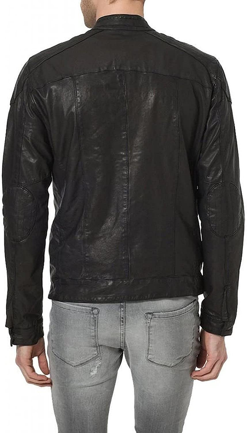 New Men Quilted Leather Jacket Soft Lambskin Biker Bomber T872