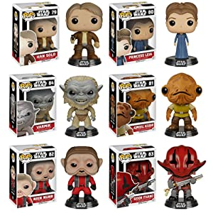 Funko Pop! Star Wars Episode 7 Set of 6: Han Solo, Leia, Admiral Ackbar, Nien Nunb, Sidon Ithano, and Varmik