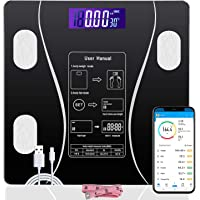 JUDONGJU Smart Bluetooth Body Fat Scale BMI Bathroom Scales for Body Weight USB Rechargeable Auto Monitor 12 Body…
