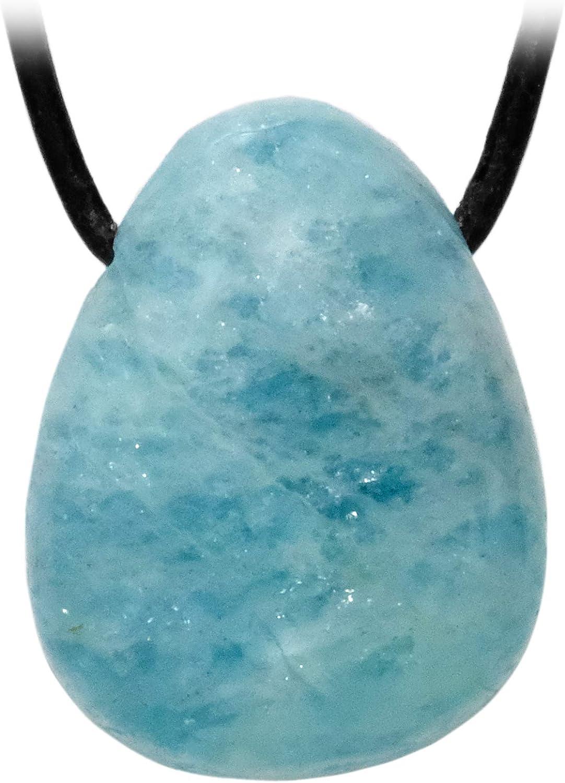 Kaltner Präsente Cadena para hombre y mujer de piel con colgante de piedra preciosa pulida aguamarina