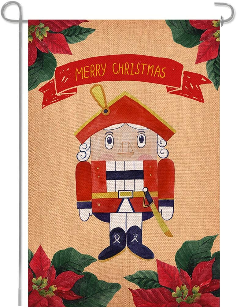 Shmbada Christmas The Nutcracker Double Sided Burlap Garden Flag, Seasonal Outside Sign Home Outdoor Decorative Flags for Yard Lawn Patio Porch Farmhouse, 12 X 18 Inch