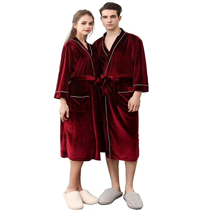 Image Unavailable. Image not available for. Color  BridalAffair Mens and  Womens Soft Velvet Robe 86d1e22aa