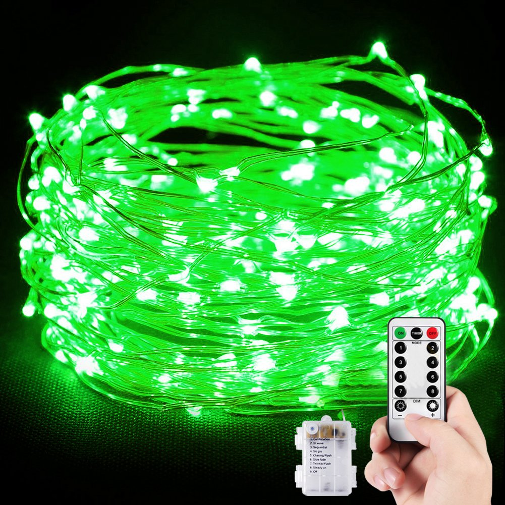 Dimmable LED String Lights,TOPLIFE 33ft 100LED Battery Powered Starry String Lights with Remote, Flexible Thin Silver Wire Christmas Decorative Lights for Indoor Outdoor Thanksgiving Holiday. (Green)