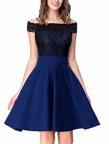 Noctflos Women's Off Shoulder Contrast Lace Cocktail Party A-line Flare Dress