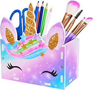 ICOSY Pencil Holder Organizer Kids Girl Unicorn Makeup Brush Holder for Girls Cosmetic Pen Organizer Desk Supplies Storage Organizer for Office, Classroom, Desk
