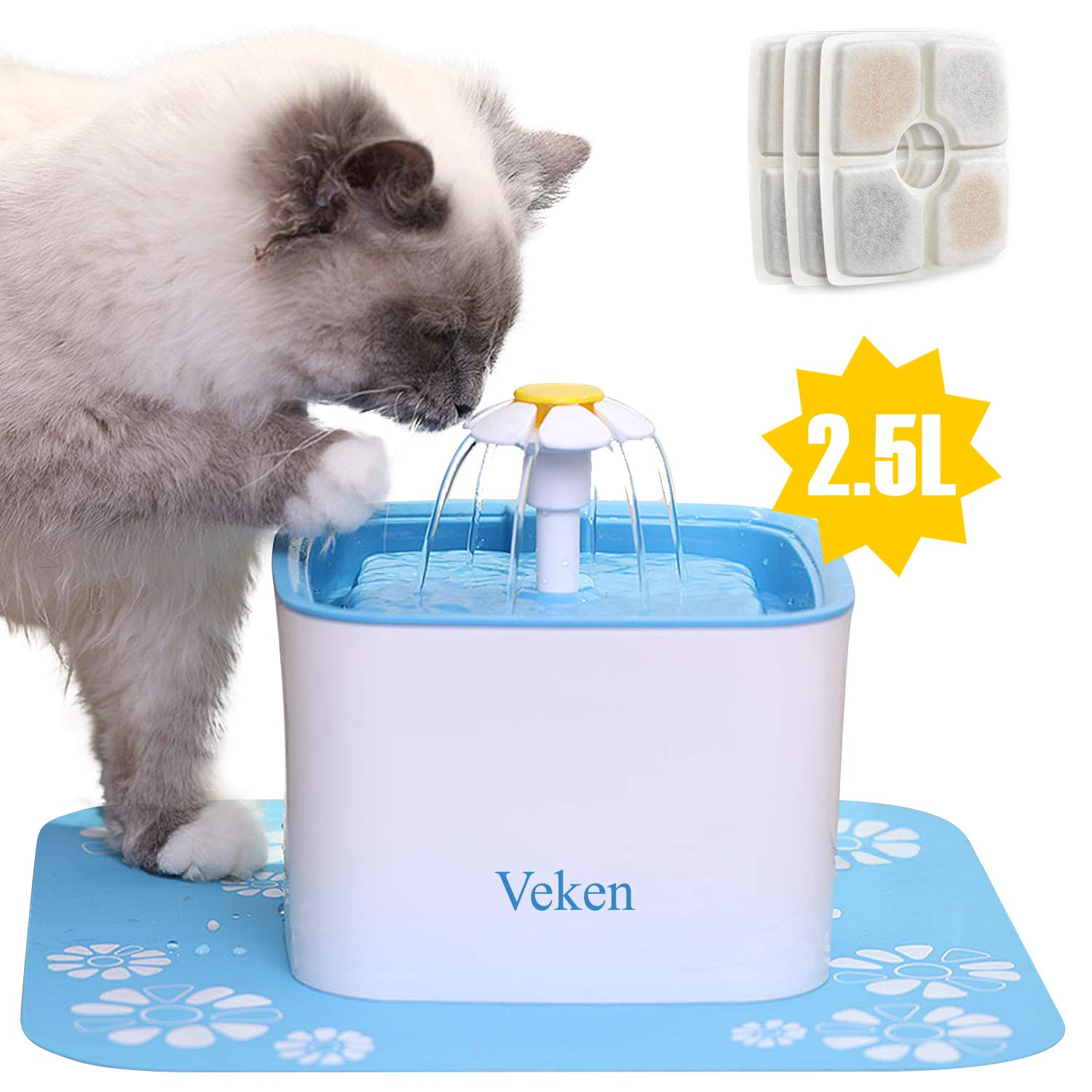Veken Pet Fountain, 84oz/2.5L Automatic Cat Water Fountain Dog Water Dispenser with 3 Replacement Filters & 1 Silicone Mat for Cats, Dogs, Multiple Pets, Blue by Veken