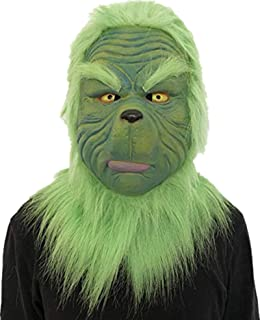 db103a56ddbd8 TuHao Cosplay Christmas Grinch Mask Melting Face Latex Costume Halloween  Scary Mask Toy Spoof Mask Tricky