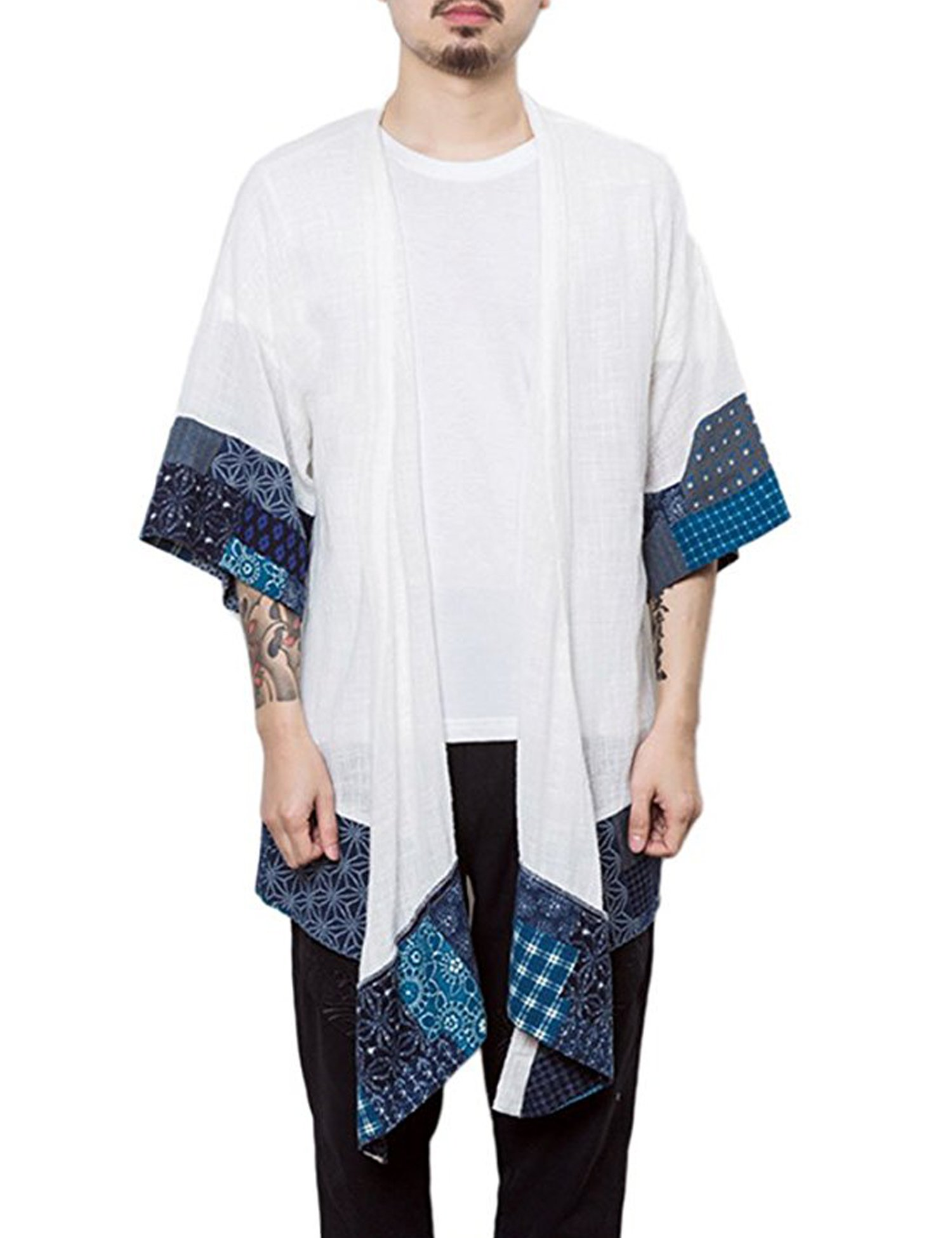 COOFANDY Men's Cardigan Lightweight Cotton Sweater Kimono Style Cloak Open Front Cape,White,Large
