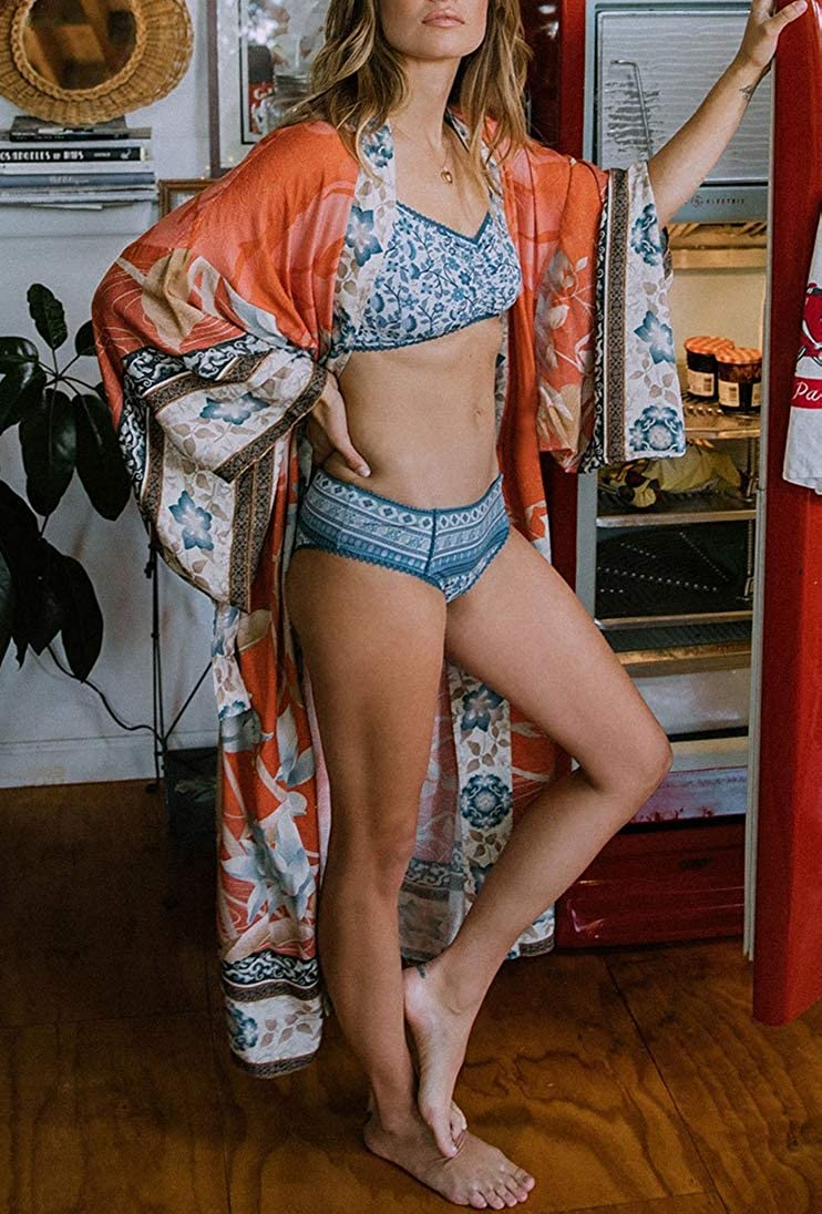 L-Peach Damen Baumwolle Kaftan Langes Kleid Maxi Strandkleid Bikini Coverups One Size