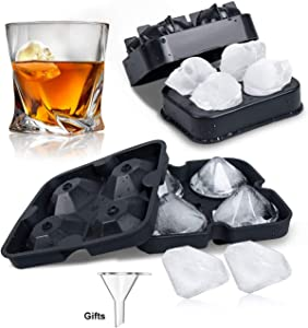 LACOMA 3D Skull Premium Silicone Ice Cube Tray Mold and Diamond Shaped SiliconeIce Cube Mold (Set of 2), Flexible Food Grade Silicone Ice Cube Candy Mold Trays for Whiskey Cocktail Beverages