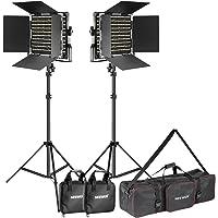 Neewer 2-Paquete Dimmable Bi-color 660 LED Luz de Video Kit de Soporte de Iluminación con Bolsa de Transporte Grande para Foto Studio Fotografía de Video, Marco de Metal Durable, 660 LED Beads, 3200-5600K, CRI 96+