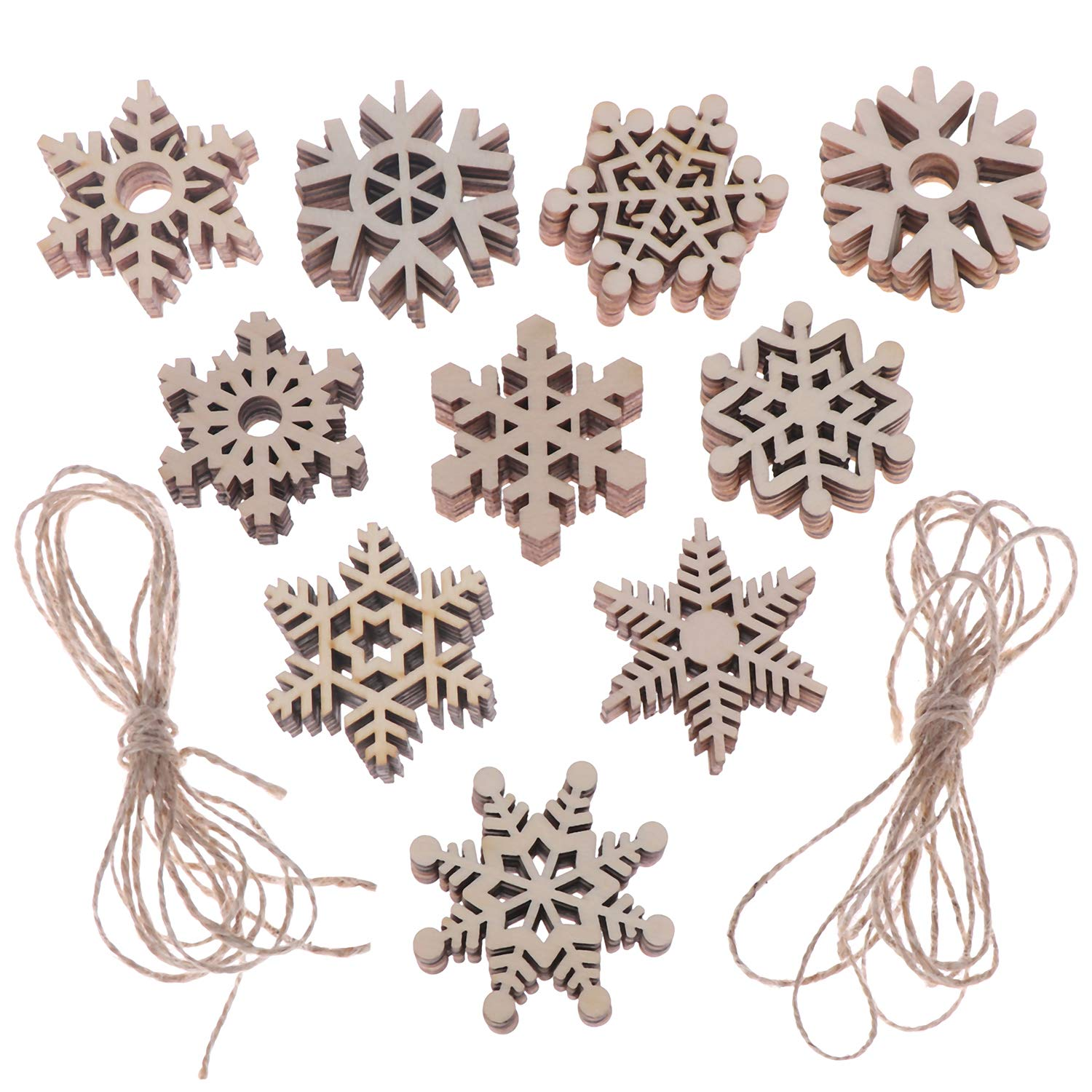 Xgood 60 Pieces Wooden Snowflake DIY Christmas Tree Decorations Wooden Hanging Snowflake Christmas Ornaments Xmas Decor Strings with 2 Pieces 2m Twine Ropes for Christmas Party Crafts Pendant Forever U Lucky