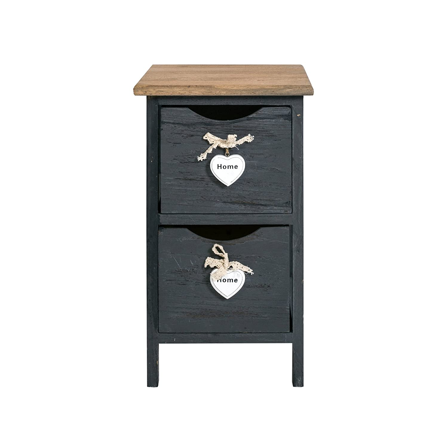 Mobili Shabby Chic A Roma.Rebecca Mobili Cabinet Furniture Bedside 2 Drawers Wood Grey Heart Shabby Chic Vintage Home Bedroom Bathroom 45 X 26 X 32 Cm H X W X D Art