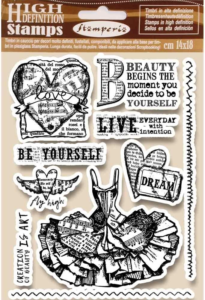 Stamperia High Definition HD ATELIER Cling Mounted Rubber Stamp SET 14 pieces 14 x 18 cm #WTKCC120