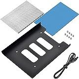 Akineko ヒートシンク W22.5×D66.5×H5mm M.2 SSD/ACアダプター/充電器などの熱暴走対策 【放熱シリコーンパッド/熱伝導両面テープ/シリコーンリング付き】【安心の18ヶ月保証】アルミニウム製ヒートシンク M.2 SSD用ヒートシンク