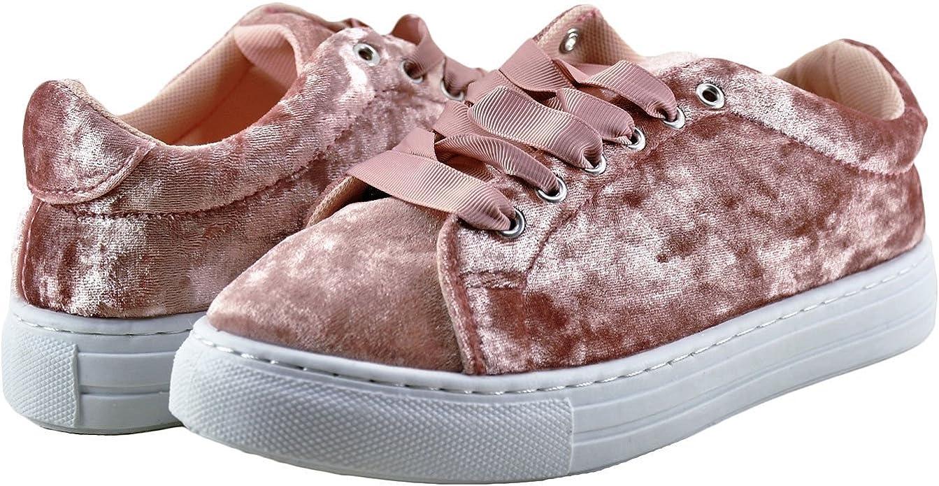 Qupid Reba 161C Pink Grey Velvet Women/'s Lace Up Sneaker