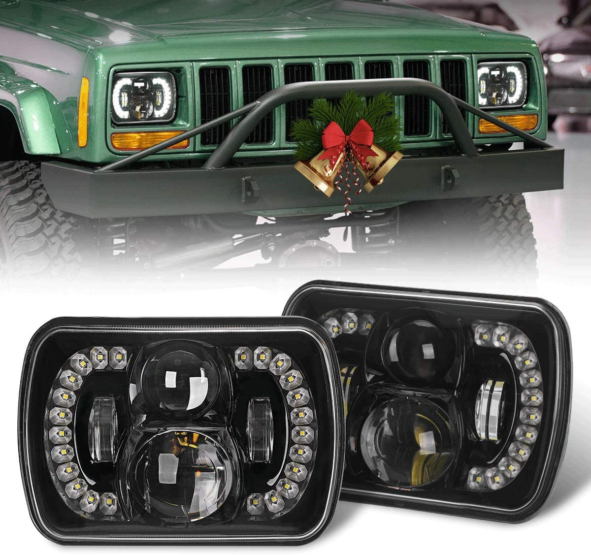 Yorkim Upgrated Newest 5x7 Led Headlights H6054 Headlight 7x6 inch Sealed Beam Square Headlamp with High Low Beam Dot Lights for Jeep Wrangler YJ Cherokee XJ 6054 H5054 H6054LL 6052 6053 Pack of 2