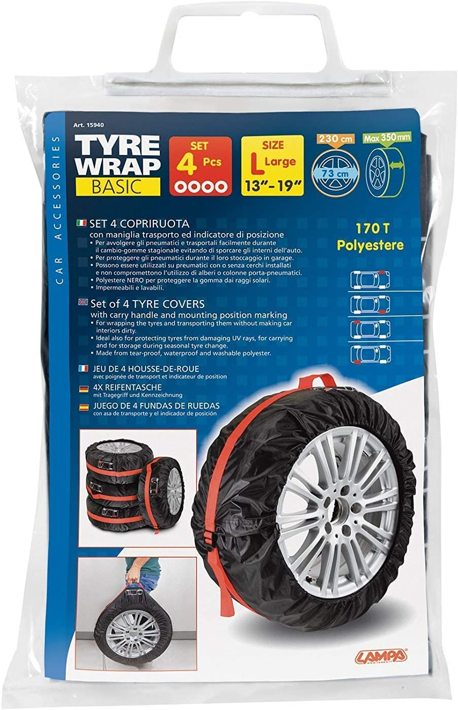 Poliestere Lampa 15940 Tyre-Wrap Basic Set 4 Copriruota