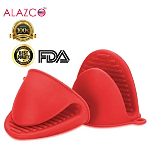 ALAZCO Red Mini Oven Mitts 1 Pair (2pcs), Heat Resistant Pinch Mitt Gloves Potholder for Kitchen Cooking & Baking - Food-Grade Silicone