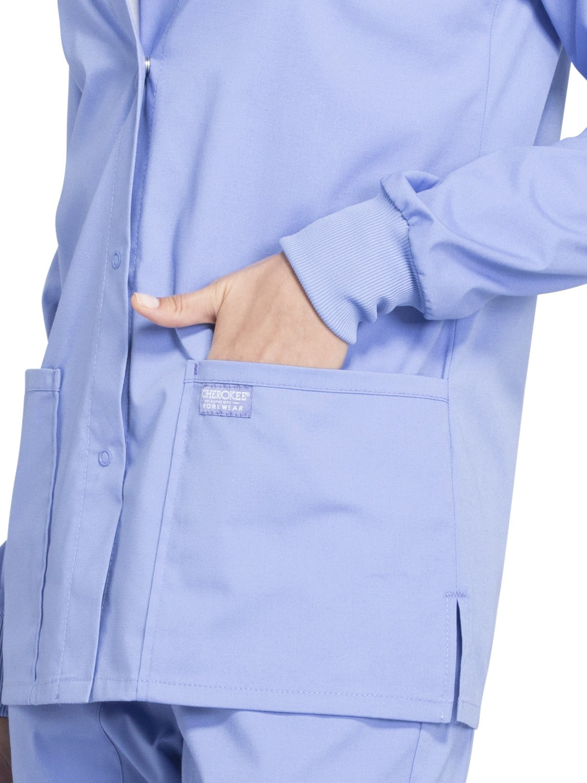 Cherokee Professionals Workwear Women's Snap Front Warm-Up Solid Scrub Jacket Medium Ciel Blue by Cherokee (Image #3)
