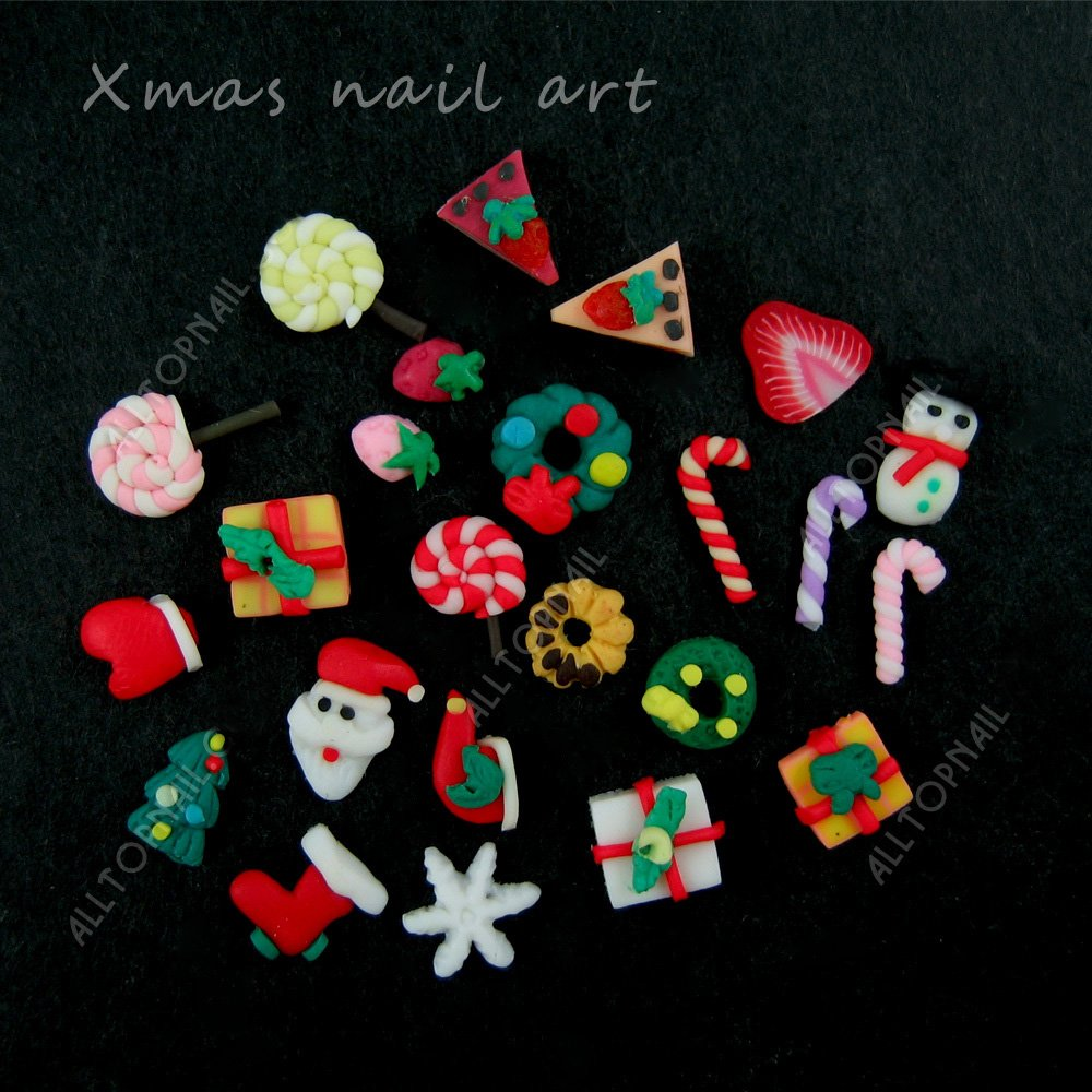Nail Art Accessories Fimo Christmas 30pcs Mix designs Nail Art 3d polymer clay Xmas nail art sticker ALLTOP