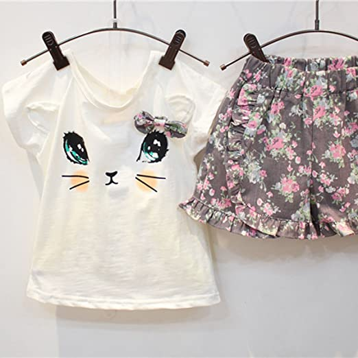 53a27520c8e Amazon.com  puseky Toddler Baby Girls Cute Cat T-Shirt+Floral Shorts Kids  Summer Clothes Set  Clothing