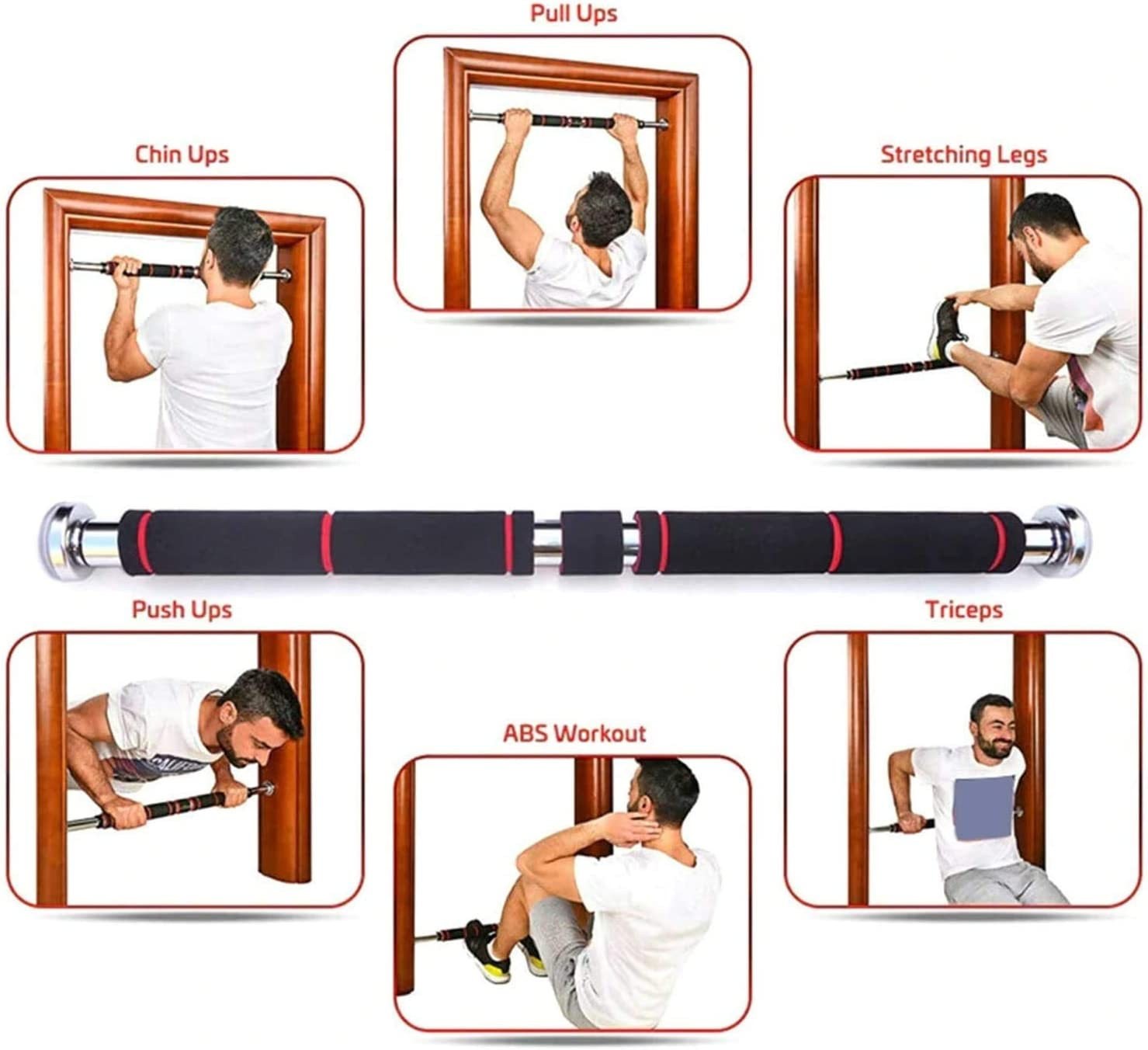 23.62-39.37 Retractable Arm Strength Training Exercise Bar Stainless Steel Chin Up Bar Household Horizontal Bar Doorway Pull Up Bar