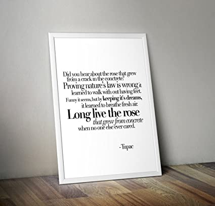 Tupac Poster - A Rose That Grew From Concrete Poem Lyrics Typography  Inspirational Quotes Wall Art Dorm Decor Hip Hop Rap Music Poetry (12