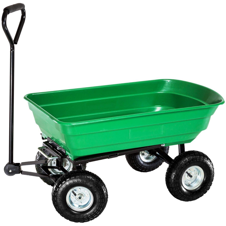 Oypla Chariot de jardin avec benne basculante, robuste, vert 2458OYP A2407