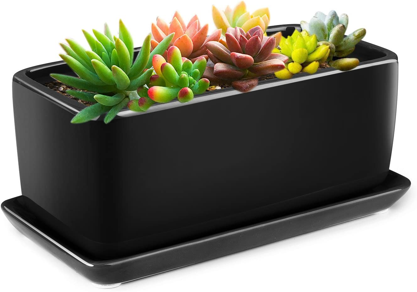 Flexzion 10 Inch Rectangular Ceramic Succulent Planter Pot - Cactus Herb Flower Container Window Box Holder with Removable Drip Tray Base for Tabletop Desktop Indoor Outdoor Home Office Garden (Black)