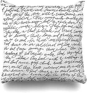 Funda Almohada - Boceto Rosa Patrón Escritura A Mano Texto